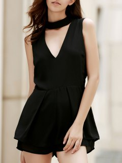 Sleeveless Low Cut Chiffon Romper - Black L