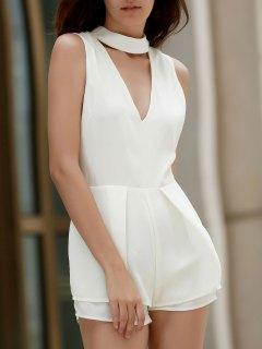 Sleeveless Low Cut Chiffon Romper - Off-white L
