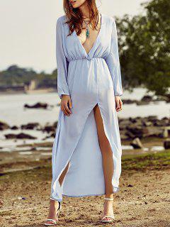Rajó El Cuello Hundiendo Volver Fotografica Vestido Largo - Azul Claro 2xl