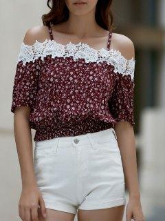 Tiny Floral Print Cami Short Sleeve Cold Shoulder T-Shirt - Red Xl