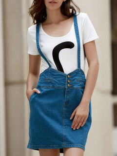 Packet Buttocks Denim Suspender Skirt - Blue 2xl
