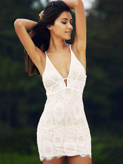 Backless Plunging Neck Lace Bodycon Dress - White L