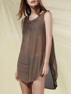 Hollow Out Crochet Arc Hem Tank Top - Light Coffee