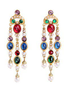 Multicolor Resin Faux Pearl Tassel Earrings - Golden