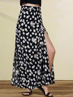 High Slit Tiny Floral Print Skirt - Black L
