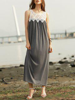 Lace Splice Scoop Neck Sleeveless Maxi Dress - Gray Xl
