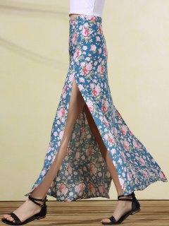 Imprimir Alta Falda De Hendidura Rose - Azul L