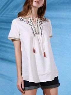 Brodé à Lacets Col Rond Manches Courtes T-shirt - Blanc