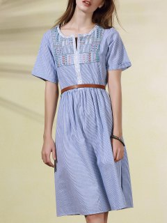 Striped Embroidered Round Neck Short Sleeve Dress - Light Blue