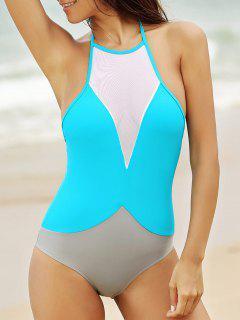 See-Through High Neck One Piece Swimwear - Light Blue S