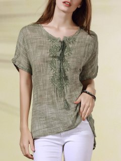 Lace Up Boxy Embroidered T-Shirt - Light Green