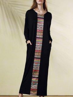 Imprimer Ethnique Scoop Neck Manches Longues Maxi Dress - Noir 2xl