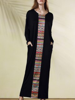 Ethnic Print Scoop Neck Long Sleeve Maxi Dress - Black 2xl