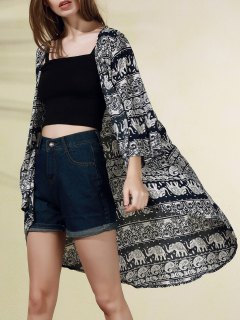 Bohemian Print 3/4 Sleeve Blouse - Black Xl