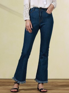 Frayed Blue Boot Cut Jeans - Blue S
