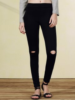 Ripped Casual Black Narrow Feet Pants - Black 2xl