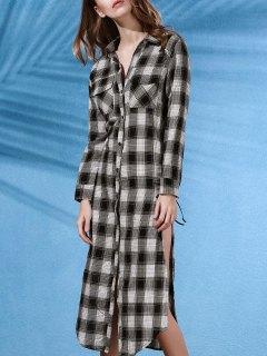 Robe Chemise En Flannelle à Carreaux Avec Poches - Blanc Et Noir 2xl