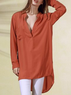 High-Low Plongeant Neck Robe à Manches Longues - Brique Rouge Xl