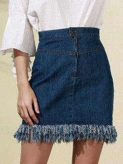 Blue Fringe High Neck Denim Skirt - Blue 2xl