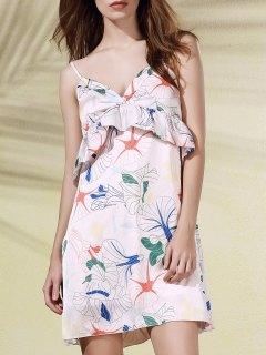 Floral Print Flounce Ruffles Cami Sleeveless Dress - Pink 2xl