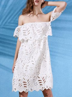 Hollow Out Off The Shoulder Short Sleeve Lace Dress - White S