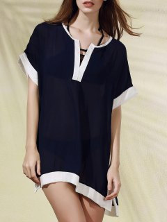 Color Block Plunging Neck Cover Up Dress - Cadetblue