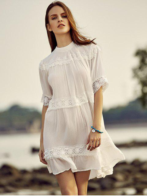unique White Lace Splicing Stand Neck Half Sleeve Dress - WHITE XL Mobile