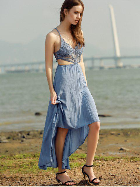 hot Lace Spliced High-Low Cami Sleeveless Dress - LAKE BLUE M Mobile