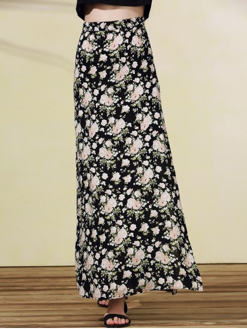 buy High Slit Rose Print Skirt - BLACK L Mobile