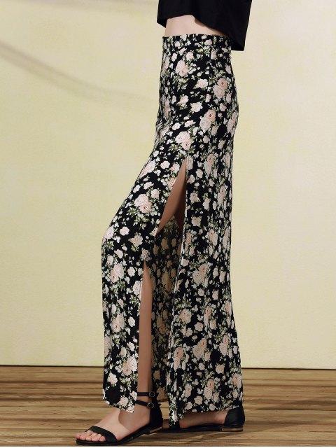 Imprimir alta falda de hendidura Rose - Negro L Mobile