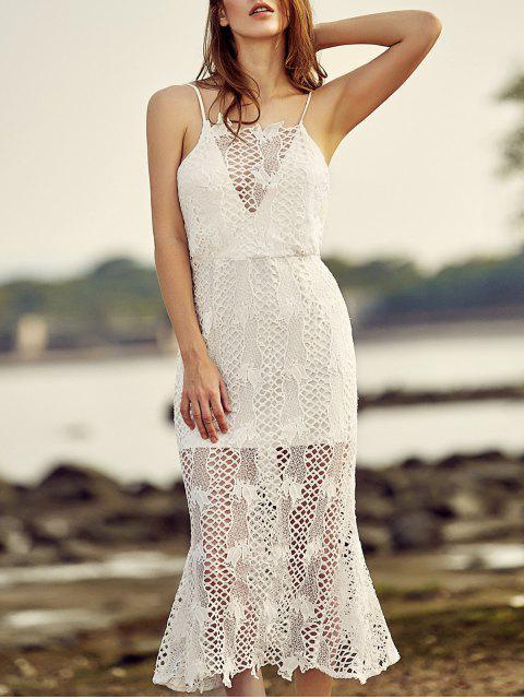 Backless Spaghetti-Trägern durchbrochene Spitze Kleid - Weiß L Mobile