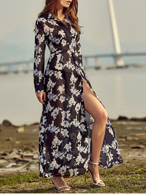 ladies Vintage Floral Print Shirt Collar Long Sleeve Dress - BLACK L Mobile