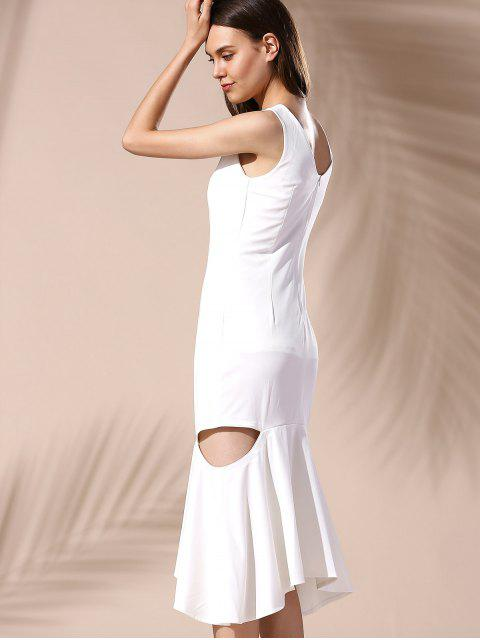 affordable Hollow Out Mermaid Dress - WHITE XL Mobile