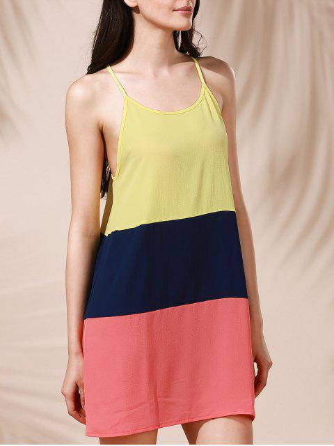 online Color Block Mini Summer Dress - COLORMIX L Mobile
