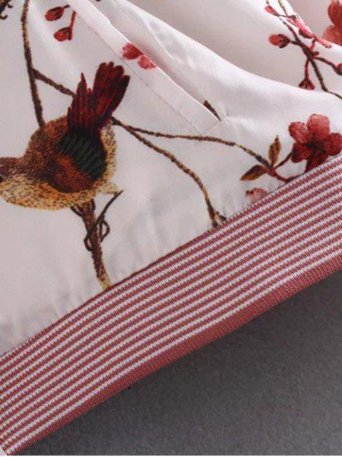 buy Bird Print Pilot Jacket - COLORMIX M Mobile