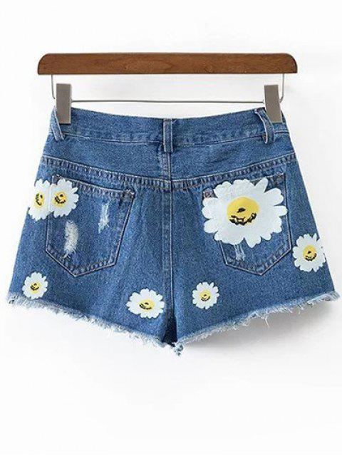 outfit Ripped Daisy Print Denim Shorts - BLUE M Mobile