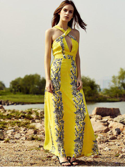 womens Cut Out Printed Beach Maxi Dress - YELLOW M Mobile