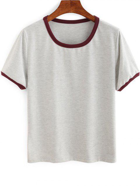 Contrastantes Canalisé T-shirt - Gris L Mobile