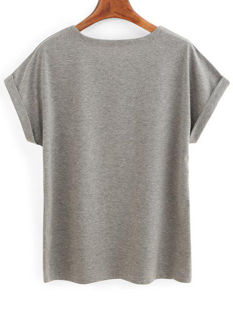 chic Rolled Sleeve Lettering T-Shirt - GRAY S Mobile