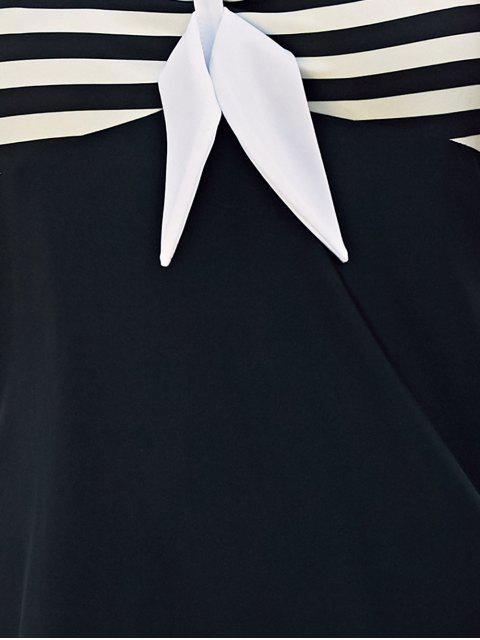 latest Halter Convertible Sailor Retro Swimdress Bathing Suit - WHITE AND BLACK XL Mobile