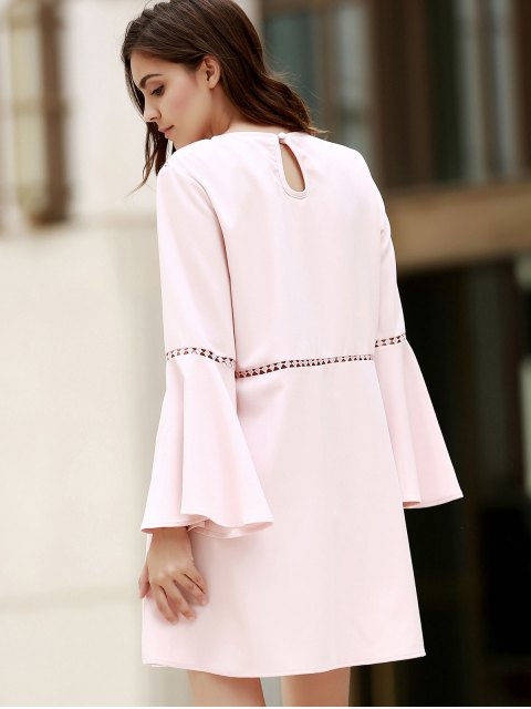 En vrac Cut Out col rond Robe manches Flare - ROSE PÂLE M Mobile