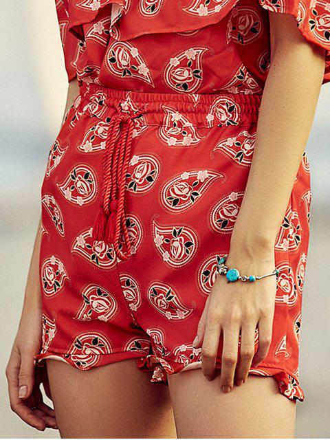 outfit Full Floral Print Drawstring Shorts - RED XL Mobile