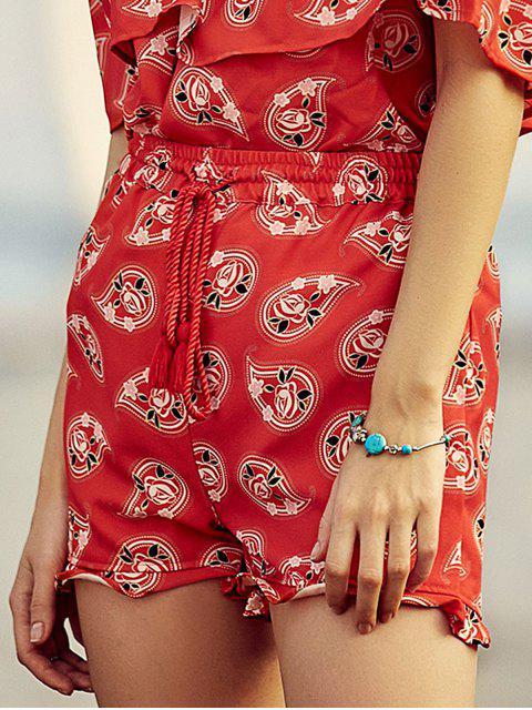 hot Full Floral Print Drawstring Shorts - RED L Mobile