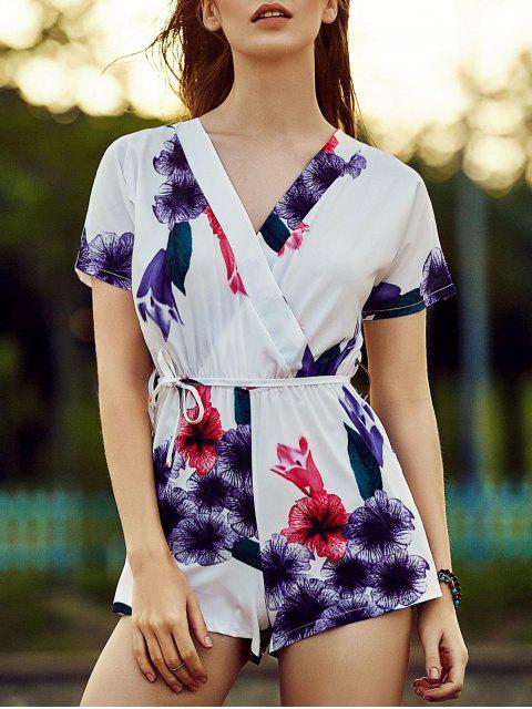 Belted Violet Print V-Ausschnitt Kurzarm Body - Lila XL  Mobile