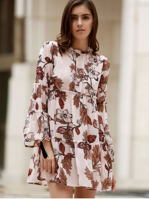 sale Printed Round Collar Long Sleeve Loose Dress - SHALLOW PINK M Mobile
