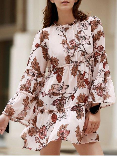 Impresa cuello redondo del vestido largo de la manga floja - Rosado Claro S Mobile
