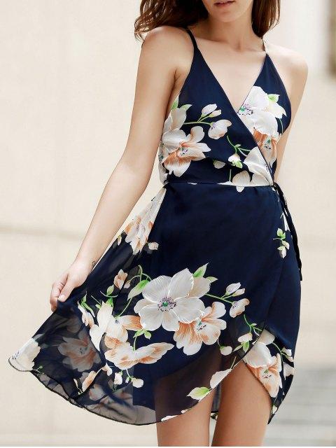 ladies Plunge Crossed Flower Print Dress - PURPLISH BLUE S Mobile