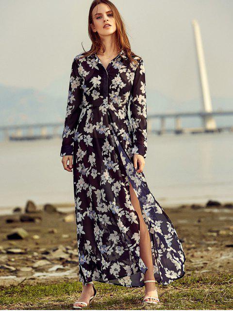 womens Vintage Floral Print Shirt Collar Long Sleeve Dress - BLACK XS Mobile