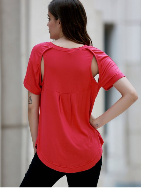 Raglan manches évider T-shirt - Rouge M Mobile