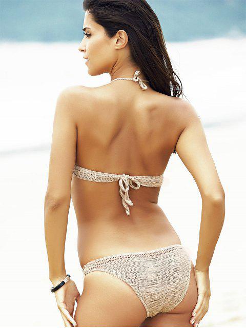 buy Crocheted Openwork High Neck Bikini Set - KHAKI L Mobile